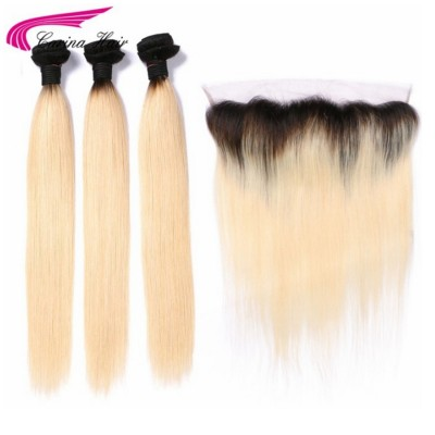 Remy Hair Ombre Color 1B/613 Hair Wefts 3 Bundle with 13*4 Ear to Ear Lace Frontal Brazilian Blonde Human Hair