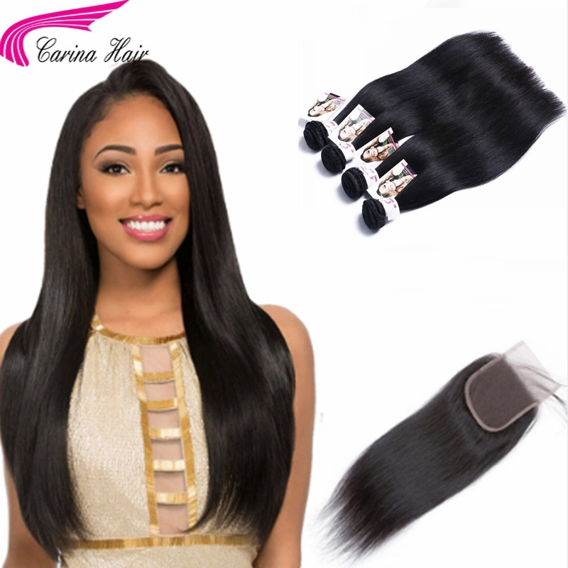 Straight Brazilian Hair Weave 4 Bundles with 4x4 Lace Closure Free Part