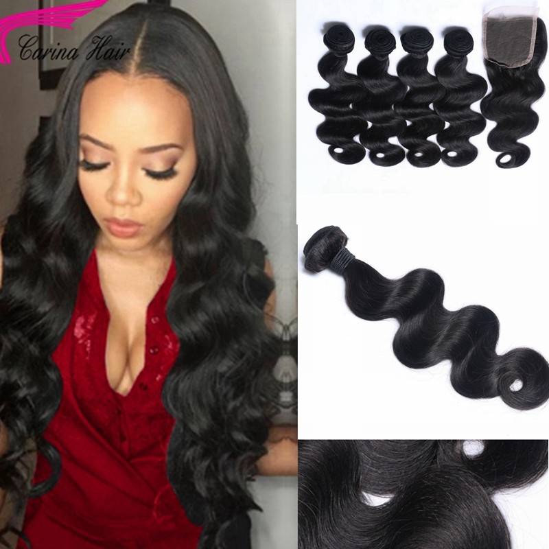 Body Wave Brazilian Hair Weave 4 Bundles with 4x4 Lace Closure Free Part