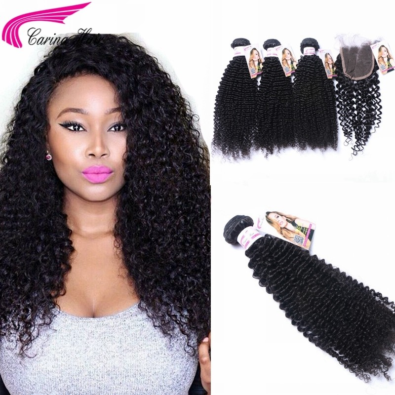 Kinky Curly Brazilian Hair Weave 3 Bundles with 4x4 Lace Closure Free Part