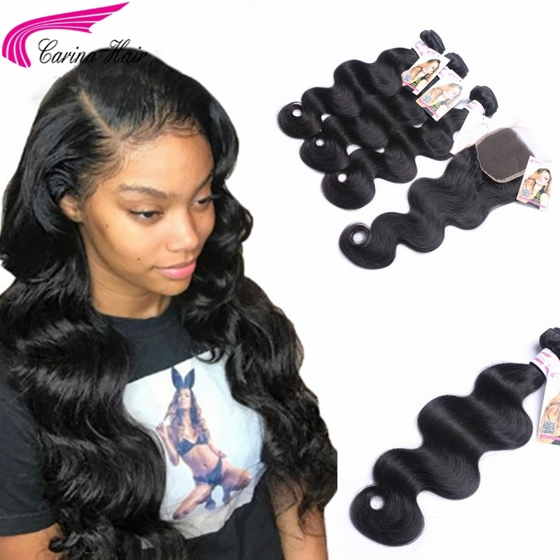 Body Wave Brazilian Hair Weave 3 Bundles with 4x4 Lace Closure Free Part