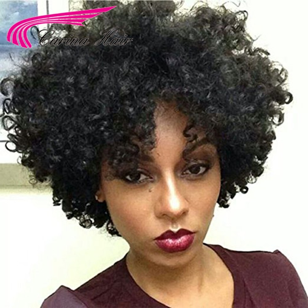 Kinky Curly Brazilian Virgin Human Hair Lace Front Wigs With Baby Hair Pre-plucked Hairline