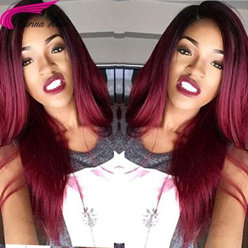 Ombre Color 1B 99J Brazilian Remy Human Hair Full Lace Wigs