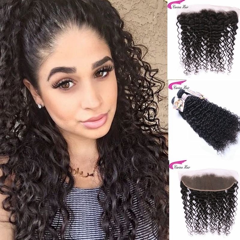 Kinky Curly Brazilian Hair Weave 3 Bundles with 13*4 Ear to Ear Lace Frontal Free Part