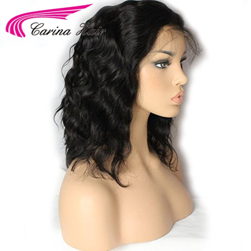 8A Short Wave Human Hair Full Lace Wigs Brazilian Virgin 13x6 Deep Part Lace Frontal Wigs