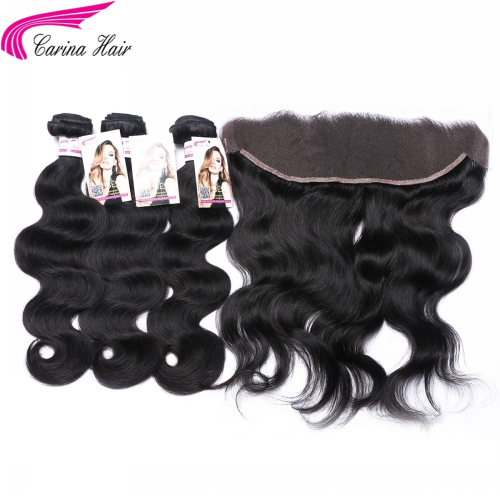 Body Wave Brazilian Hair Weave 3 Bundles with 13*4 Ear to Ear Lace Frontal Free Part