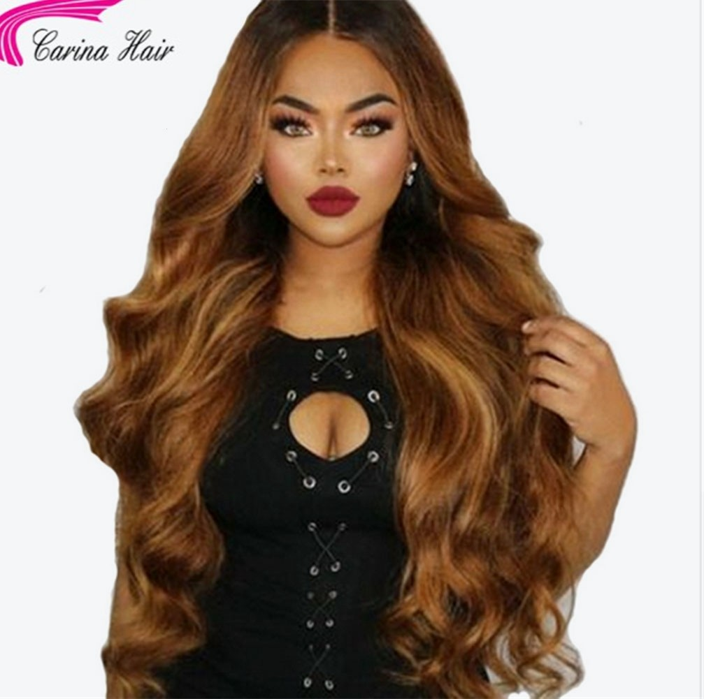 Remy Peruvian Wave Lace Front Wigs Ombre Color 2T 1b/30 Human Hair Wigs with Baby Hair