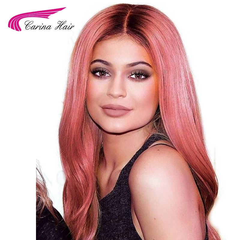 Silky Straight Ombre Pink Human Hair Lace Front Wigs Pre-Plucked Hairline