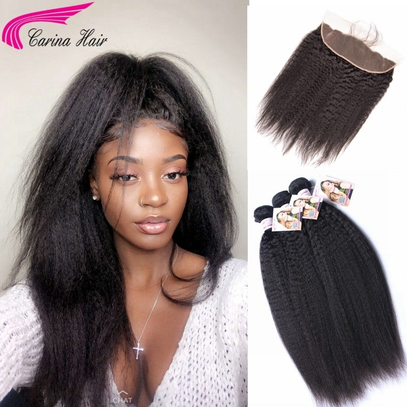 Kinky Straight Brazilian Hair Weave 3 Bundles with 13*4 Ear to Ear Lace Frontal Free Part