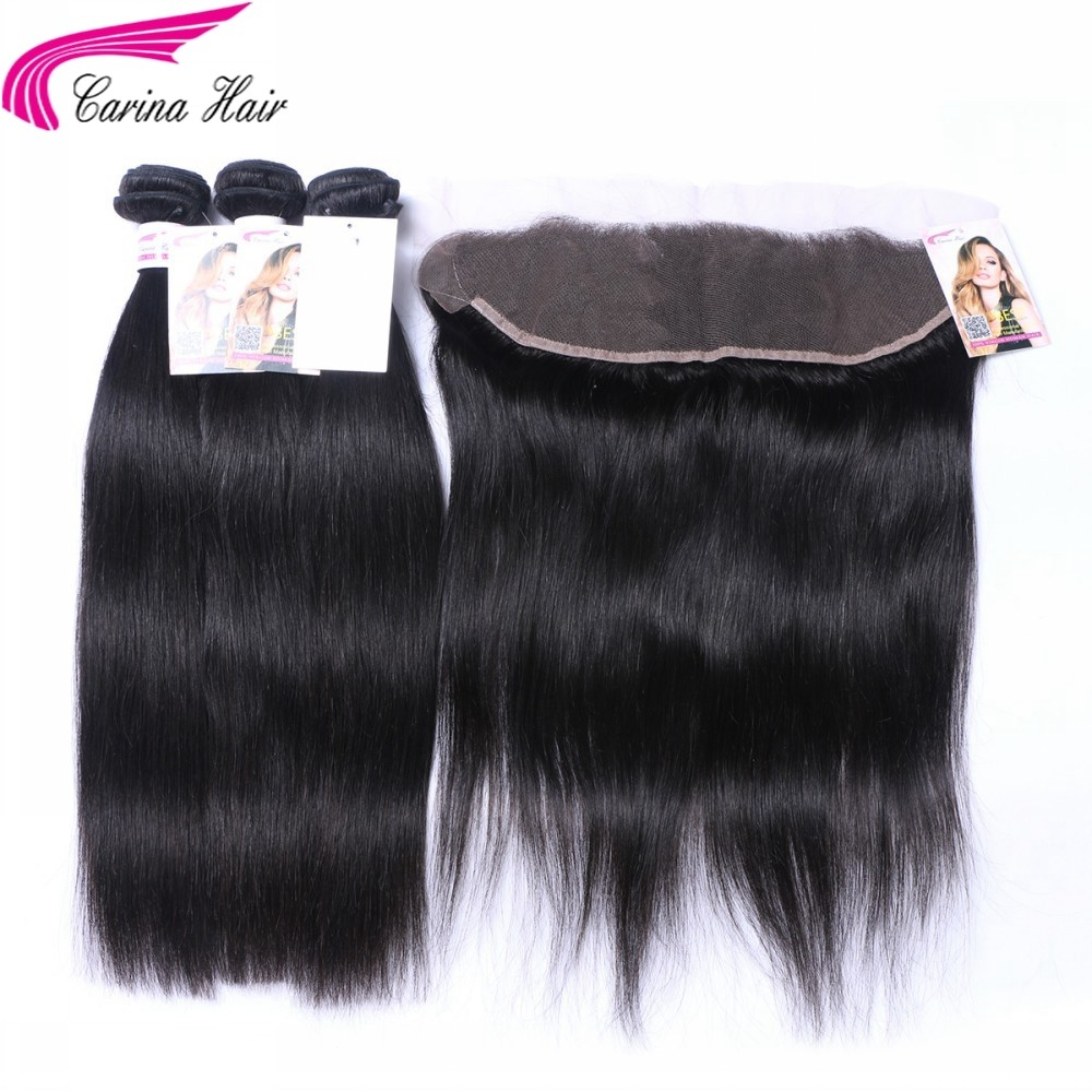 Straight Brazilian Hair Weave 3 Bundles with 13*4 Ear to Ear Lace frontal Free Part