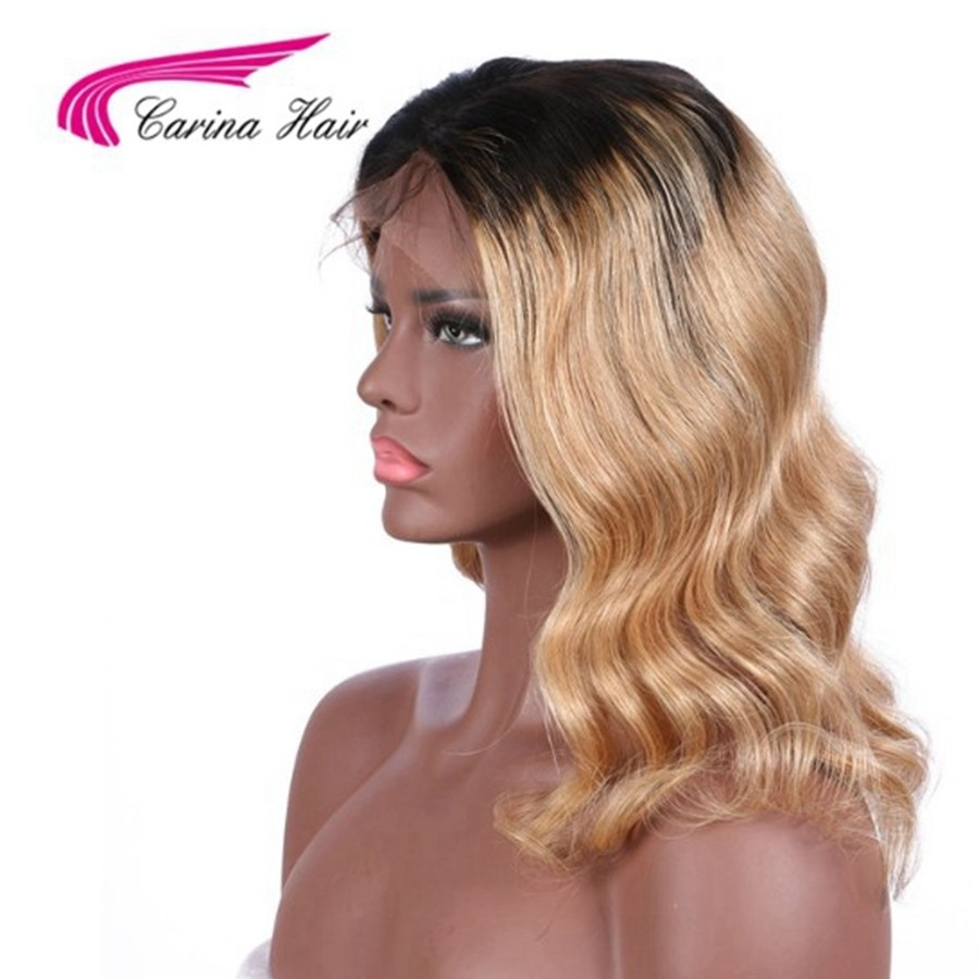 Ombre Blonde 1b/27 Color Full Lace Wigs Brazilian Remy Short Wave Human Hair Wigs Pre-Plucked Hairline