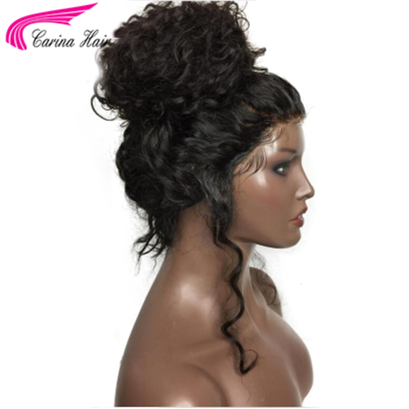Human Hair Glueless Loose Curly 360 Lace Frontal Wig High Ponytail