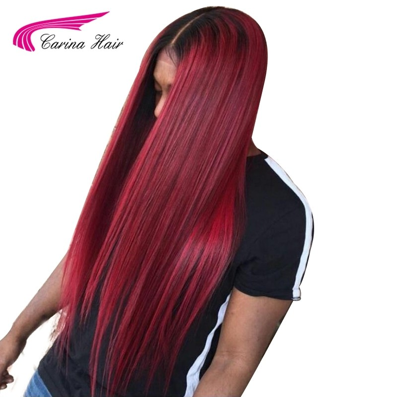 Ombre Color Lace Front Wigs Brazilian Remy Human Hair Wigs Pre-Plucked Hairline