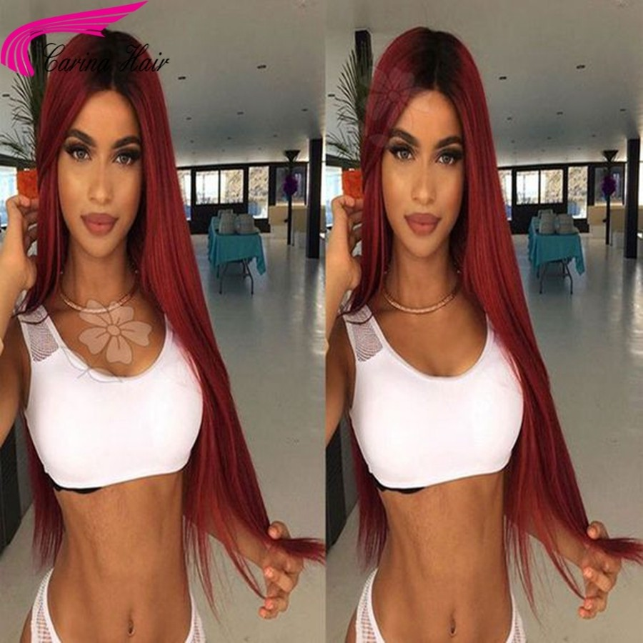 Ombre Color Lace Front Human Hair Wigs with Baby Hair Pre-Plucked Hairline Remy Brazilian Hair Glueless Wigs