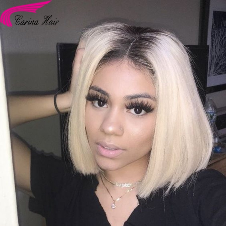 Brazilian Remy Human Hair 1B/613 Color Full Lace Wigs Straight Short Bob Wigs With Baby Hair Bleached Knots