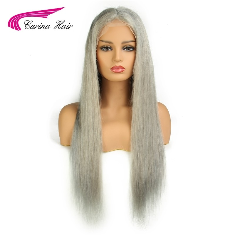 Grey Color Lace Front Human Hair Wigs Pre-Plucked Hairline Brazilian Straight Glueless Wig