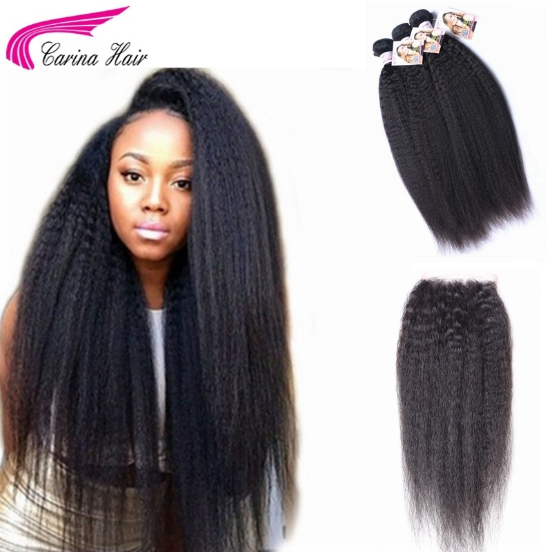 Kinky Straight Brazilian Hair Weave 3 Bundles with 4x4 Lace Closure Free Part