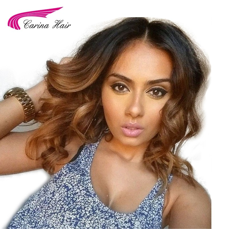 Ombre 1B/30 Lace Front Wig Loose Wave Human Hair Wigs with Baby Hair