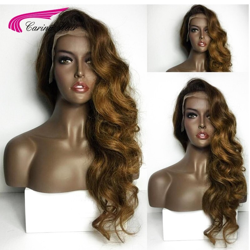 Ombre Color Lace Front Human Hair Wigs with Baby Hair Pre-Plucked Hairline
