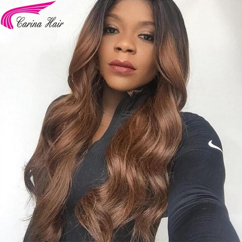 Ombre Human Hair Lace Wig Pre Plucked Brazilian Lace Front Wigs With Baby Hair
