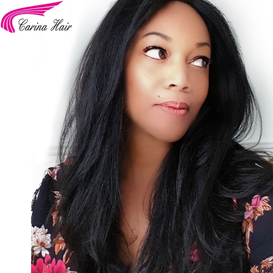 Brazilian Remy Yaki Human Hair Full Lace Wigs with Baby Hair