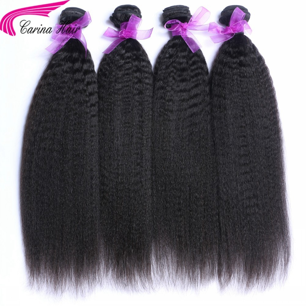 Kinky Straight Brazilian Hair Weave 4 Bundles Real Human Hair Extensions
