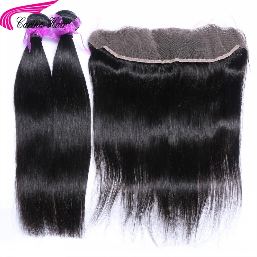Straight Brazilian Hair Weave 2 Bundles with 13*4 Ear to Ear Lace frontal Free Part