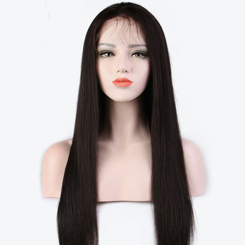 Lace Front Wigs Human Hair Wigs Natutal Wigs Yaki Straight With Baby Hair 100% Brazilian Human Remy Hair Glueless Wig