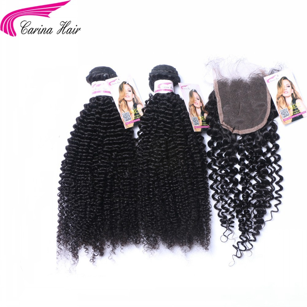 Kinky Curly Brazilian Hair Weave 2 Bundles with 4x4 Lace Closure Free Part