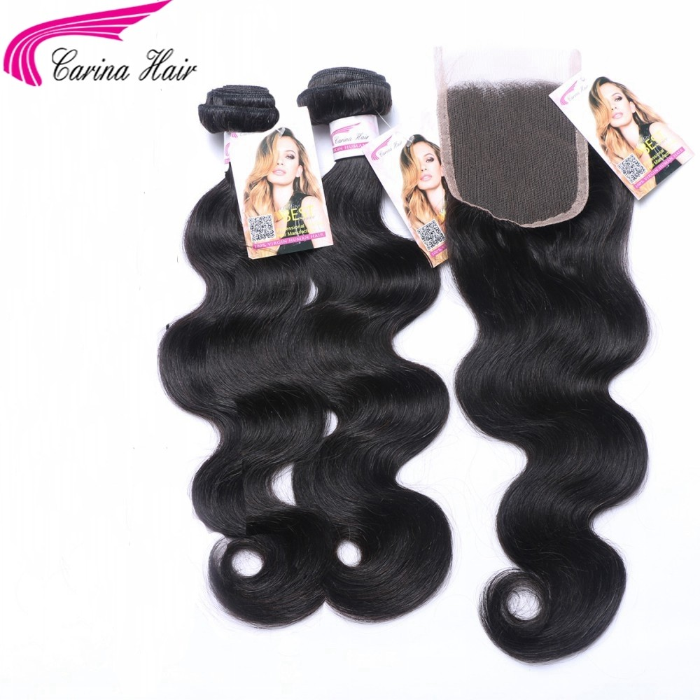 Body Wave Brazilian Hair Weave 2 Bundles with 4x4 Lace Closure Free Part