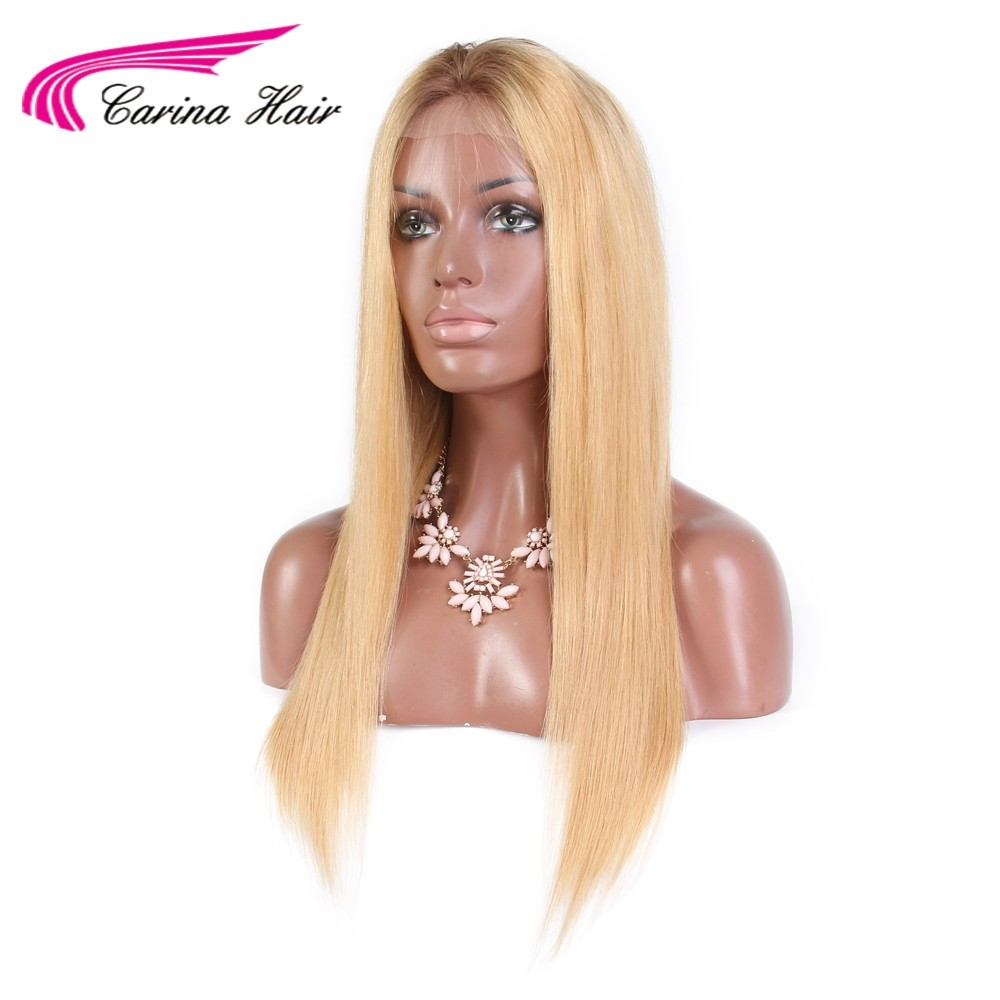 Pre Plucked Straight Remy Brazilian Human Hair Wigs 4/27 Ombre Color With Baby Hair