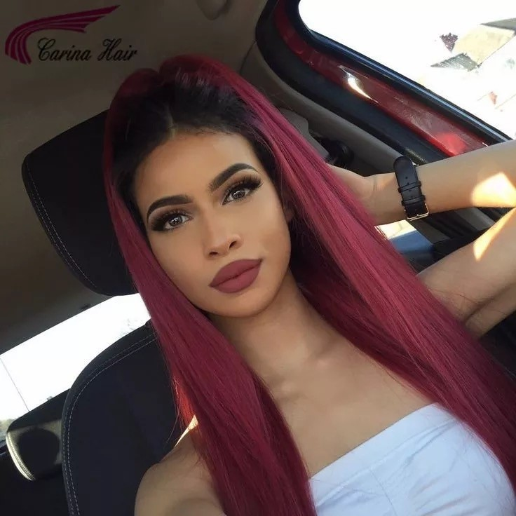 Straight Ombre Human Hair Full Lace Wig 1b99j Ombre Two Tone Color for Women with Baby Hair