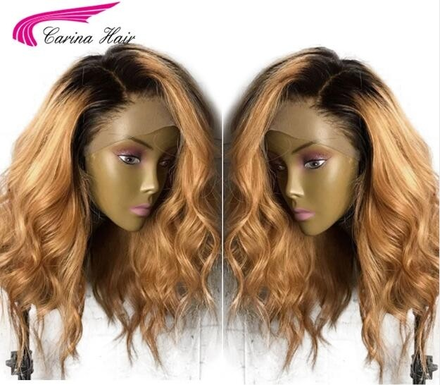 Human Hair Full Lace Wig 1B 27 Loose Wave Honey Blonde Lace Wigs For Women