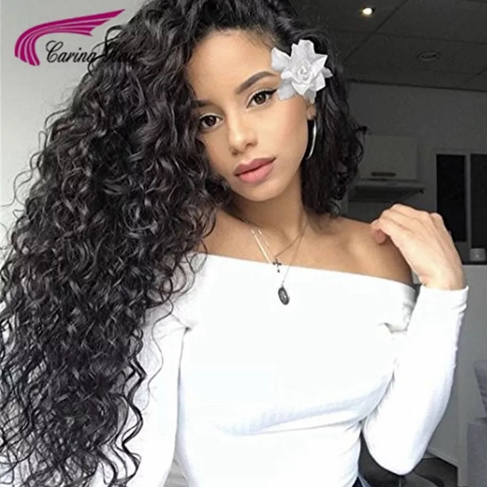Lace Front Wigs Human Wigs Deep Curly 130% Density for Black Women Natural Color