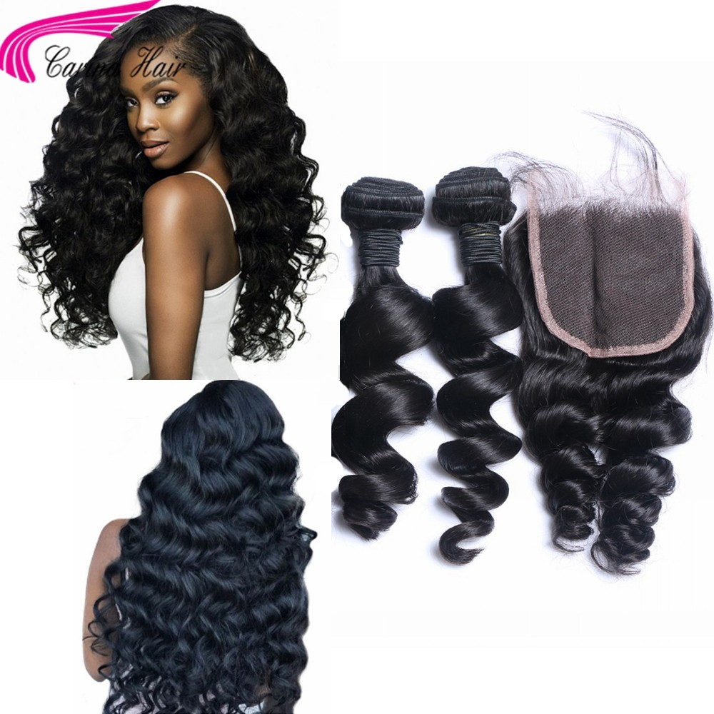 Loose Wave Brazilian Hair Weave 2 Bundles with 4x4 Lace Closure Free Part