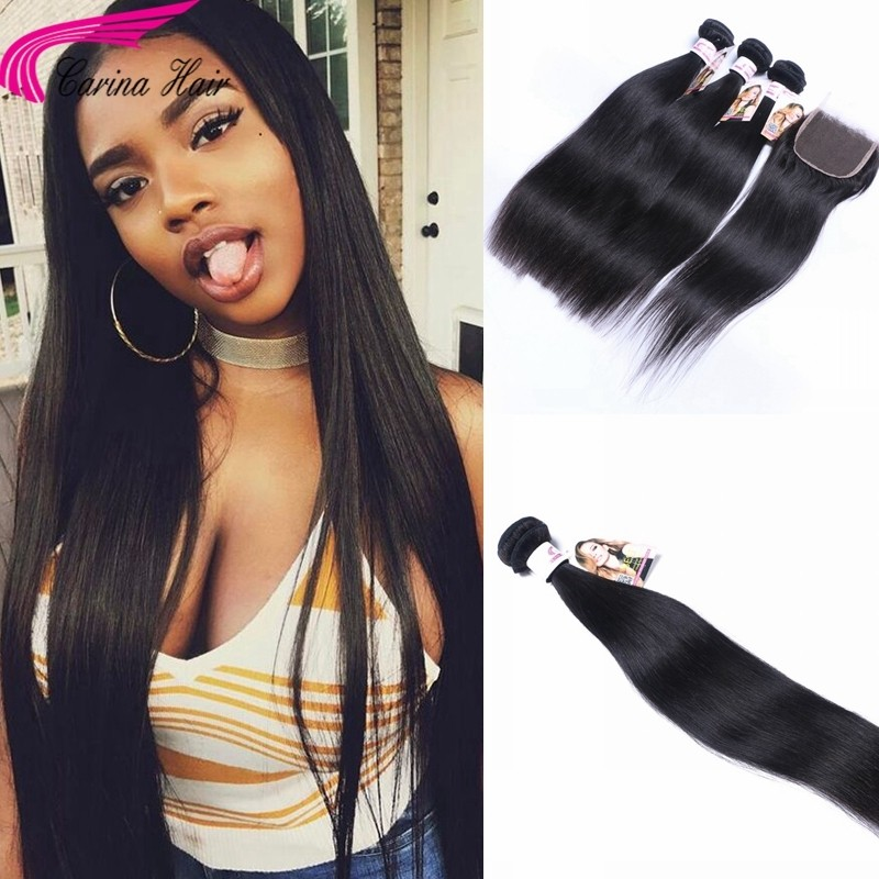 Straight Brazilian Hair Weave 3 Bundles with 4x4 Lace Closure Free Part