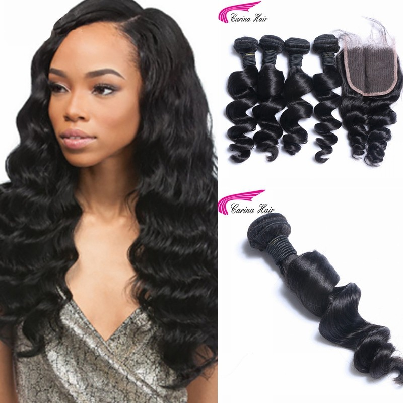 Loose Wave Brazilian Hair Weave 4 Bundles with 4x4 Lace Closure Free Part