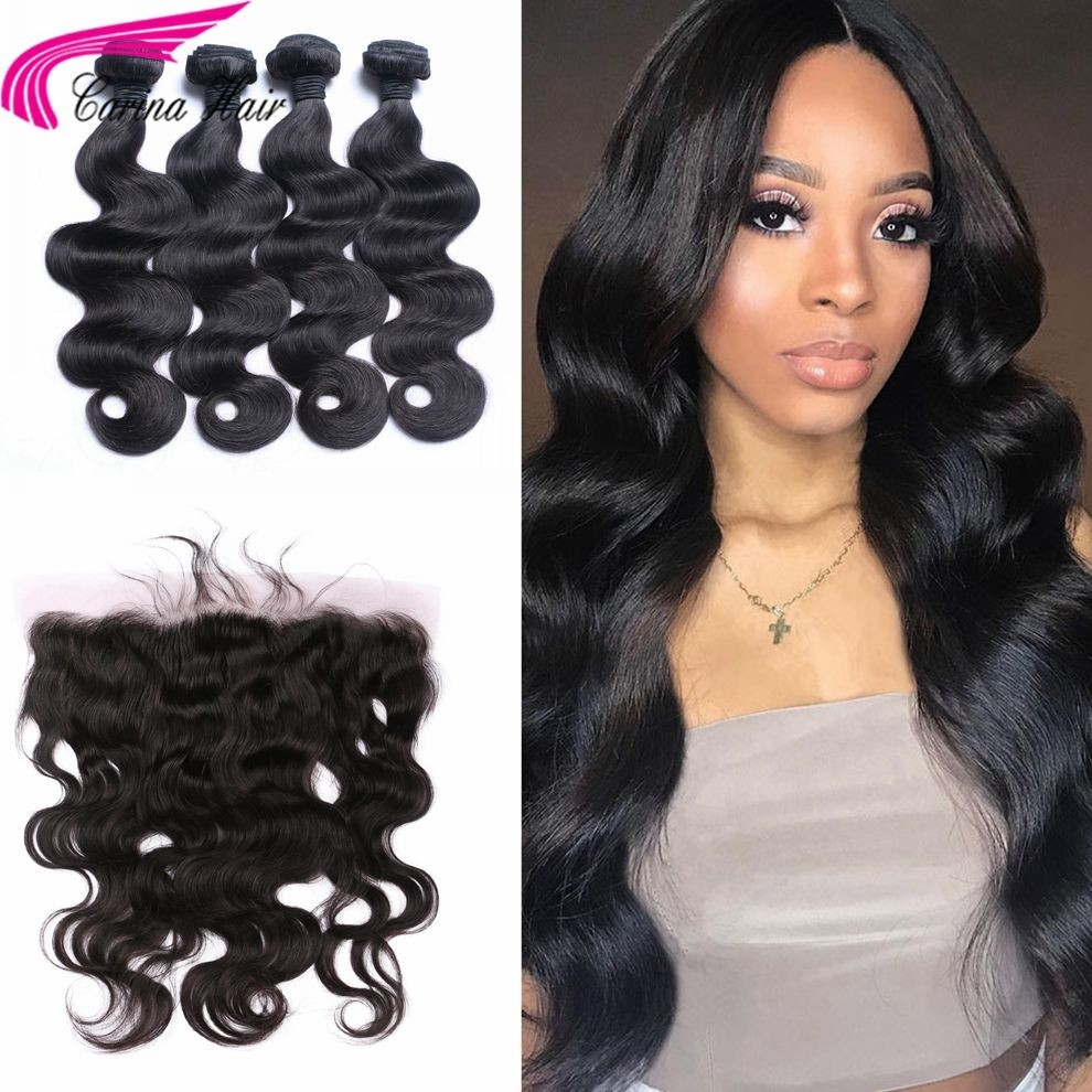 Body Wave Brazilian Hair Weave 4 Bundles with 13*4 Ear to Ear Lace Frontal Free Part