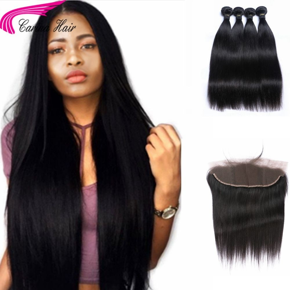 Straight Brazilian Hair Weave 4 Bundles with 13*4 Ear to Ear Lace frontal Free Part