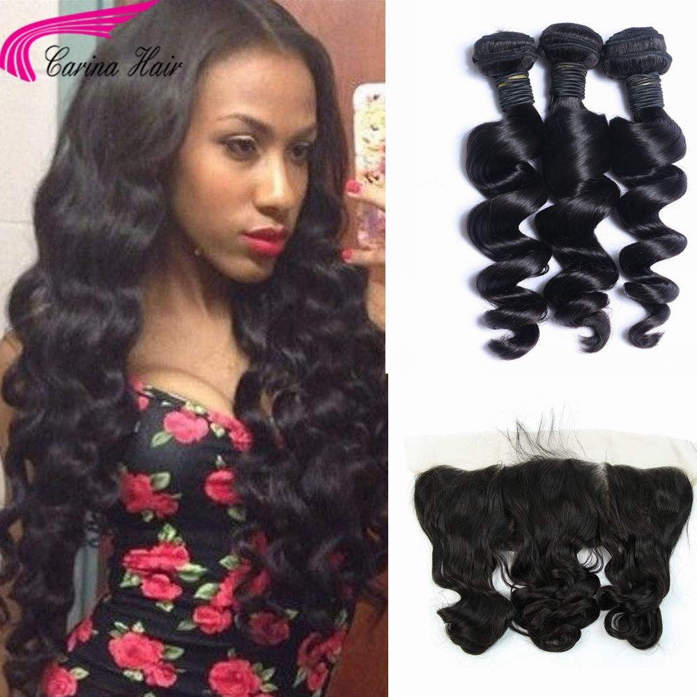 Loose Wave Brazilian Hair Weave 3 Bundles with 13*4 Ear to Ear Lace Frontal Free Part