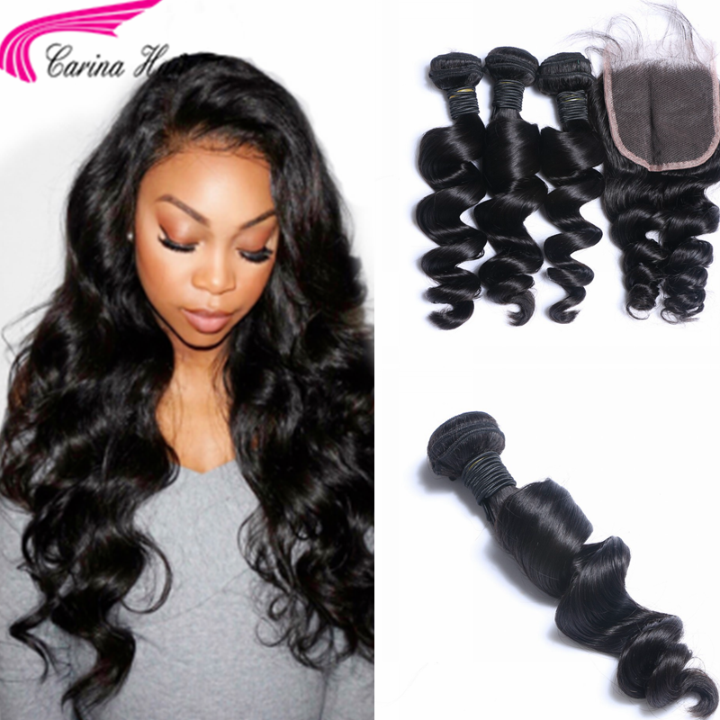 Loose Wave Brazilian Hair Weave 3 Bundles with 4x4 Lace Closure Free Part