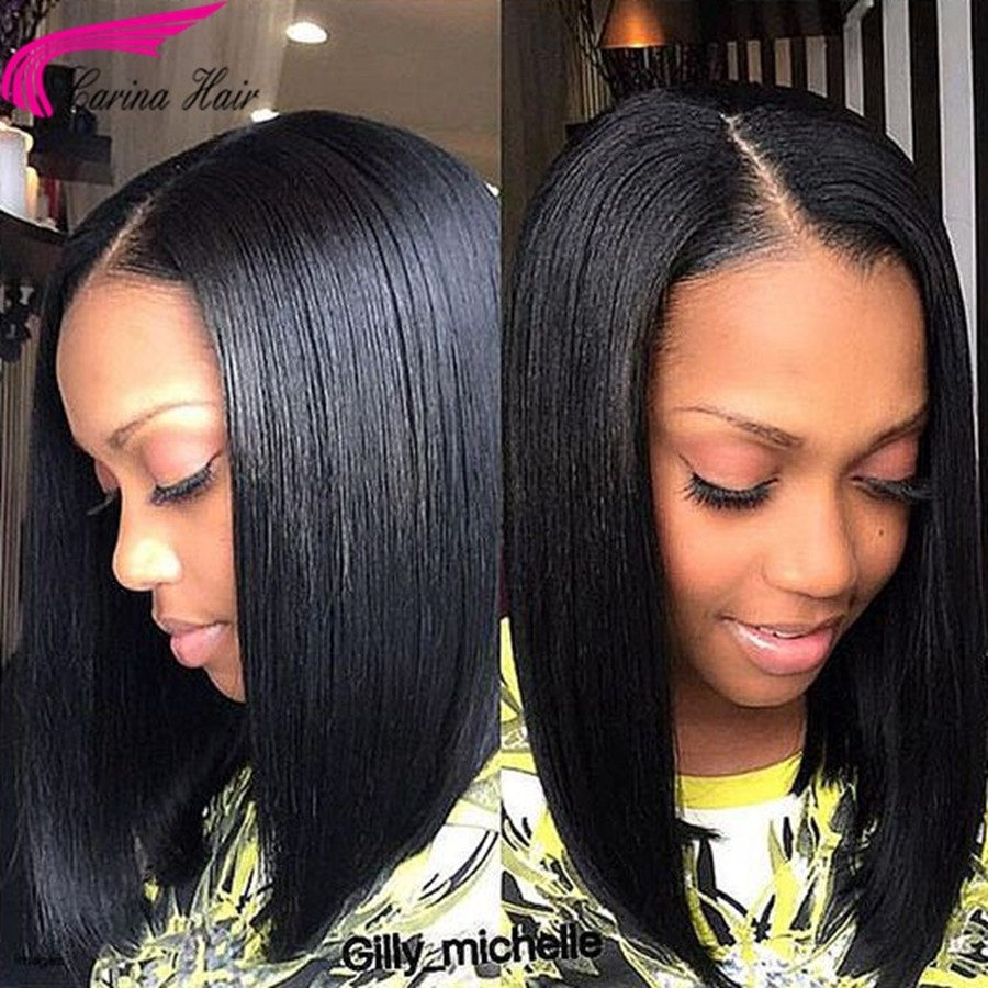 Straight Full Lace Wigs Brazilian Remy Human Hair Bob Wigs with Baby Hair