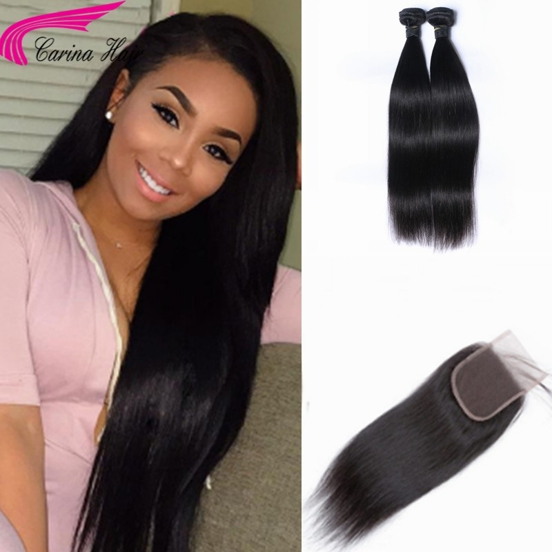 Straight Brazilian Hair Weave 2 Bundles with 4x4 Lace Closure Free Part