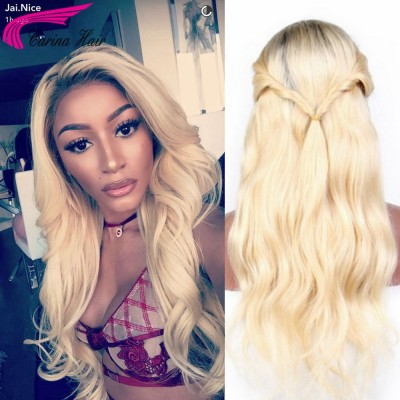 Ombre Blonde Color Lace Front Human Hair Wigs With Baby Hair 1b/613 Brazilian Remy Full Lace Wigs Pre Plucked Natural Hairline