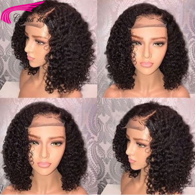 CarinaCurly Bob Wigs Pre Plucked Human Hair Lace Wigs for Women