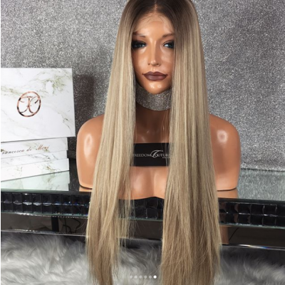 Ombre Color Glueless Lace Wigs Brazilian Remy Straight Human Hair Wigs Pre Plucked Hairline