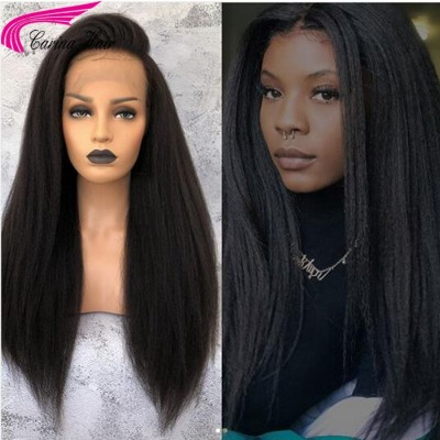 Brazilian Remy Italian Yaki Human Hair Full Lace Wigs With Baby Hair Natural Hairline