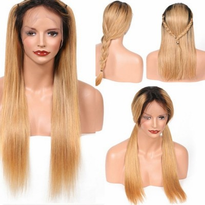 Ombre Brazilian Hair Lace Wig 1b/27 Remy Straight Human Hair Wigs With Baby Hair