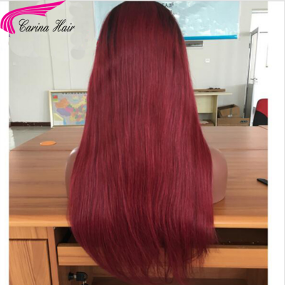 Ombre Human Hair Lace Front Wigs 1b/99J Full Lace Wig for Women with Baby Hair