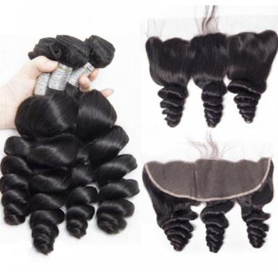 Loose Wave Brazilian Hair Weave 4 Bundles with 13*4 Ear to Ear Lace Frontal Free Part